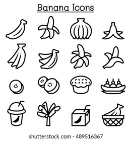 Banana icons set in thin line style