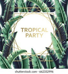 Banana Leaves palm tree illustration. Modern graphics. Artboard card. Tropical party.