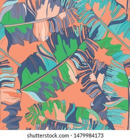 Banana leaves seamless pattern. Vector illustration of banana leaves on orange background.
