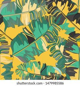 Banana leaves seamless pattern. Vector illustration of banana leaves on yellow background.
