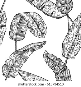 Banana leaves tropical seamless pattern. Monochrome line repeated background with palm leaves.
