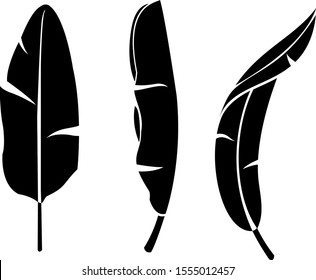 banana leaves vector silhouette isolated on white background