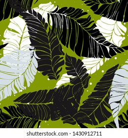 Banana leaves yellow blue green light green floral print for fabric seamless pattern. Palm leaf for swimsuits endless background. Exotic leaves tropical print.