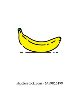 Banana line icon. Yellow fruit symbol. Vector illustration.