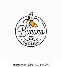 Banana logo. Round linear logo of peeled banana on white background