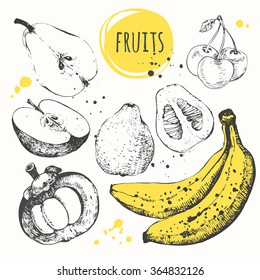 Banana, mangosteen, apple, bergamot. Hand drawn set with fresh food. Vector illustration with of sketch of fruit. Black and white.