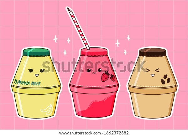 Banana Milk Bottle Strawberry Coffee Flavors Stock Vector Royalty Free 1662372382