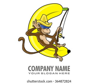 banana monkey cartoon character logo