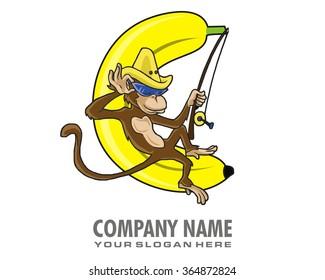 banana monkey cartoon character logo
