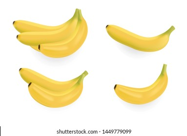Banana on white Vector illustrations