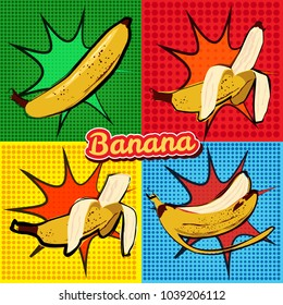 Banana opened banana bitten banana peel banana pop art vector illustration, isolated