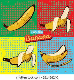 Banana opened banana bitten banana peel banana pop art vector illustration