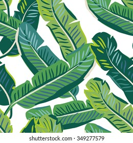 Banana palm leaves on the white background. Vector seamless pattern with tropical plant.