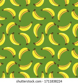 Banana Pattern Texture and / or repetitive background of a banana. Drawing of a banana with repetition to decorate. Editable vector. Green background.