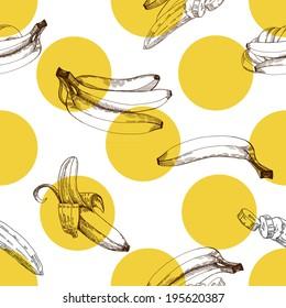 Banana pattern, vector hand drawing