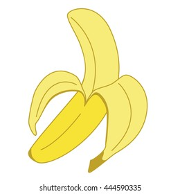 Banana, Peeled, Illustration in Color