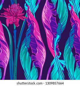 Banana plant leavs and etligeria flower on a dark purple background. Tropical jungle. Seamless pattern with Irregular distribution of elements. Vertical rythm. EPS10 vector illustration.