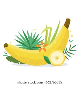 Banana with plants and flowers. Flat style vector illustration.