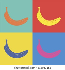 Banana pop art style illustration. Vector