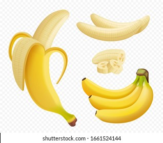 Banana realistic. Healthy natural exotic fruits foods plants vector pictures isolated