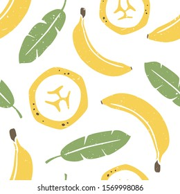 Banana seamless pattern. Ripe banana and palm leaves on white background. Can be used for wallpaper, fabric, wrapping paper or decoration. Vector hand drawn illustration