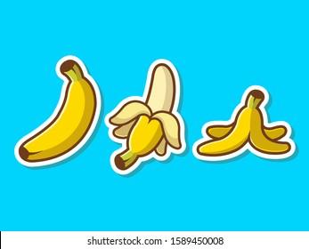 Banana Set Fruit Sticker Vector Icon Illustration. Banana Cartoon Logo, Fruit Icon Concept White Isolated. Flat Cartoon Style Suitable for Web Landing Page, Banner, Sticker, Background