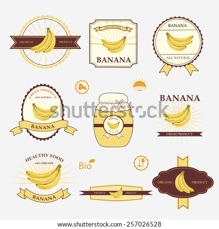 Banana Set Label Design Templates Vector Stock Vector (Royalty Free ...