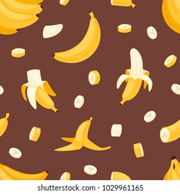Banana set vector bananas products bread pancake or banana split with yellow banana illustration bananapeel seamless pattern background