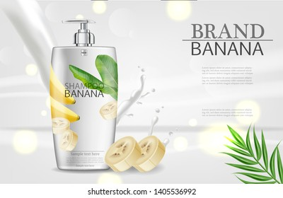 Banana shampoo Vector realistic mock up. White bottle cosmetics. Product placement label design. Detailed 3d illustration