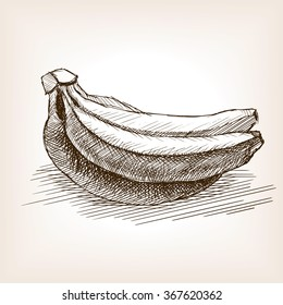 Banana sketch style vector illustration. Old hand drawn engraving imitation. Vegetable food illustration