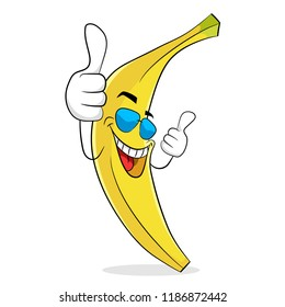 Banana in sunglases have vacation rest and thumb up. Vector illustration.