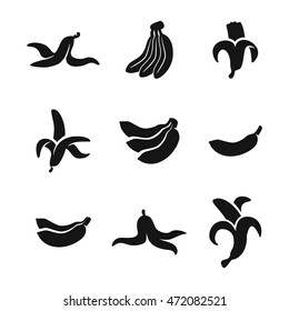 Banana vector icons. Simple illustration set of 9 banana elements, editable icons, can be used in logo, UI and web design