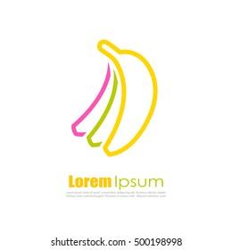 Banana vector logo illustration isolated on white background