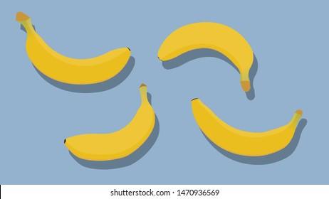 banana vector. banana on background. vector illustration.