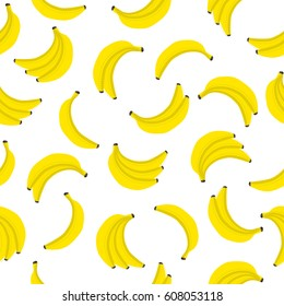 Banana vector seamless pattern. Bunches of fresh yellow bananas with dotted line around. Textile fabric print, wrapper, poster