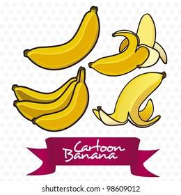 Bananas cartoon, peeled, cluster, and peel. Vector Illustration