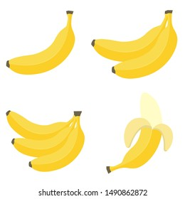 Bananas in flat style. Banana icons. Vector illustration isolated on white background