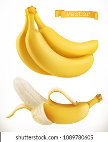 Bananas. Fresh fruit 3d realistic vector icon