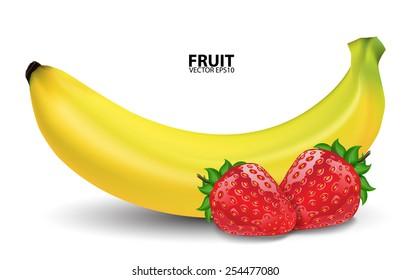 Bananas and fresh strawberries. vector