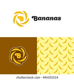 Bananas logo design template. Vector color banana sign illustration. Yellow fruit seamless pattern. Letter B symbol logotype. Bright plant tropic label