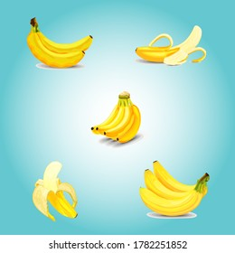 Bananas on color background. Vector illustration, Bananas icon set