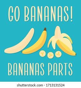 Bananas parts on blue turquoise background