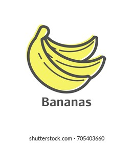 Bananas thin line vector icon. Isolated fruit linear style for menu, label, logo. Simple vegetarian food sign