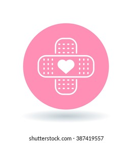 Band aid heart icon. Bandage love sign. Plaster symbol. White icon on pink circle background. Vector illustration.