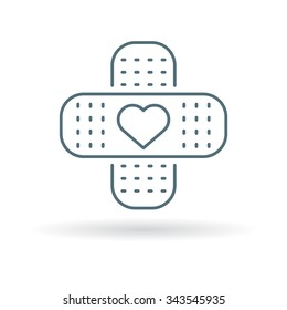 Band aid icon. Plaster with heart sign. Bandage health care symbol. Thin line icon on white background. Vector illustration.