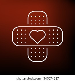 Band aid love icon. Heart plaster sign. Bandage with heart symbol. Thin line icon on red background. Vector illustration.