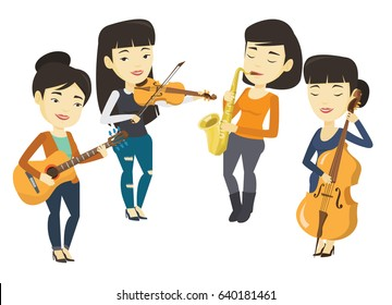 Band of asian musicians playing on musical instruments. Musicians playing on musical instruments. Musicians performing with instruments. Vector flat design illustration isolated on white background.