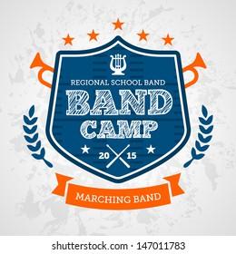 Band camp marching drum corp emblem logo badge