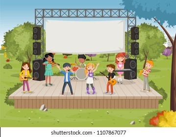 Band with cartoon children playing music on stage in the park