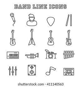band line icons, vector pictogram set